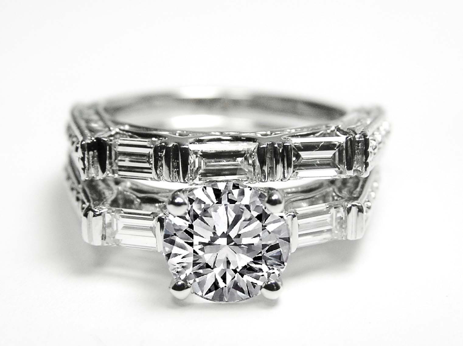 Engagement Ring Diamond With Tapered Baguette Accents Matching Wedding Band 0 55 Tcw In 14k White Gold Es614wgbs