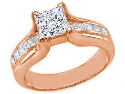 Pink Gold Princess Diamond Bridge Style Engagement Ring 1.15 tcw.