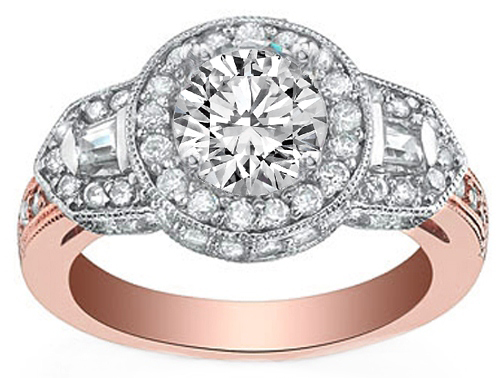 Pink Gold Diamond Halo Engagement Ring with Baguettes 0.84 tcw.
