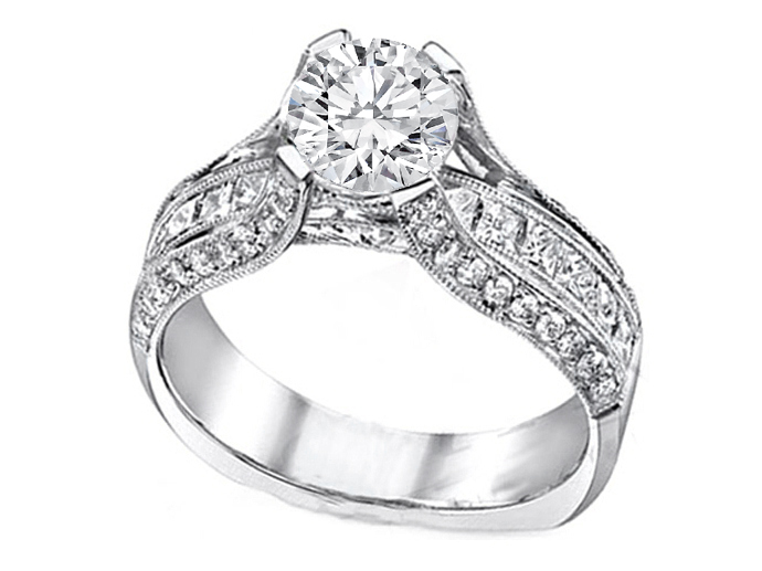 Diamond Bridge Engagement Ring 1.10 tcw. In 14K White Gold