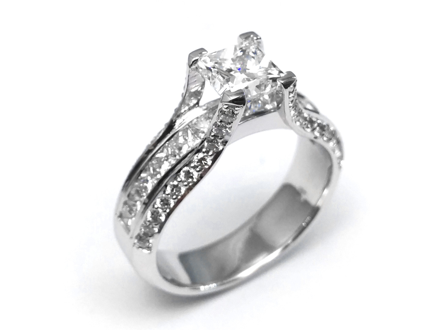 Princess Diamond Bridge Engagement Ring 1.10 tcw. In 14K White Gold