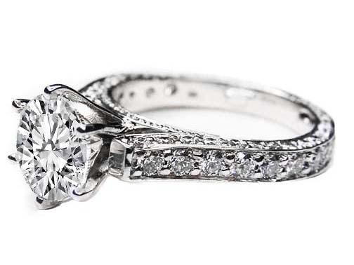 Cathedral Pave Diamond Eternity Engagement Ring 1.28 tcw