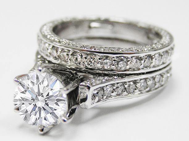 Engagement Ring Cathedral Pave Diamond Eternity Engagement Ring