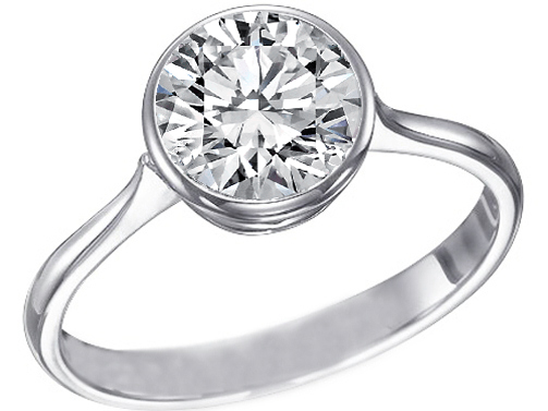 Contour Bezel Diamond Engagement Ring in 14K White Gold