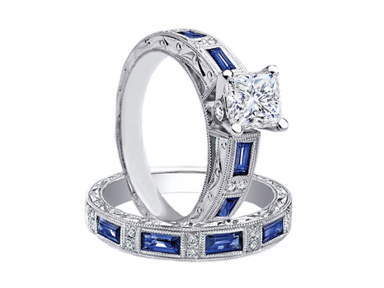 Princess Diamond Bridal Set Engagement Ring U0026 Matching Wedding Band  Engraved Vintage Band Blue Sapphire Accents