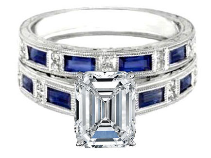 engagement ring emerald cut diamond bridal set engagement ring matching wedding band engraved vintage diamonds and blue sapphire accents 102 tcw