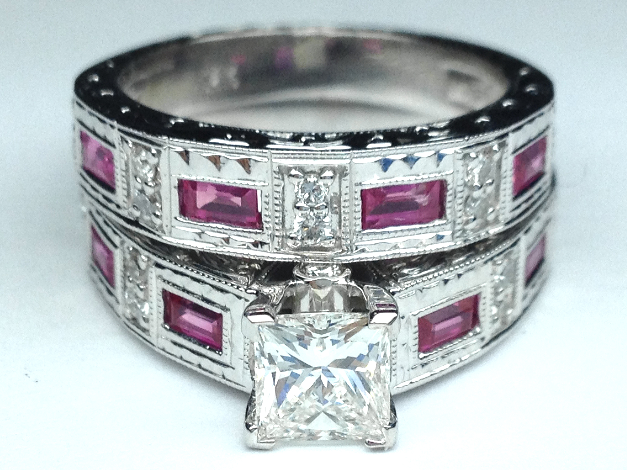 Princess Diamond Vintage Engraved Bridal Set Engagement Ring & Matching Wedding  Band Pink Sapphire Accents 102