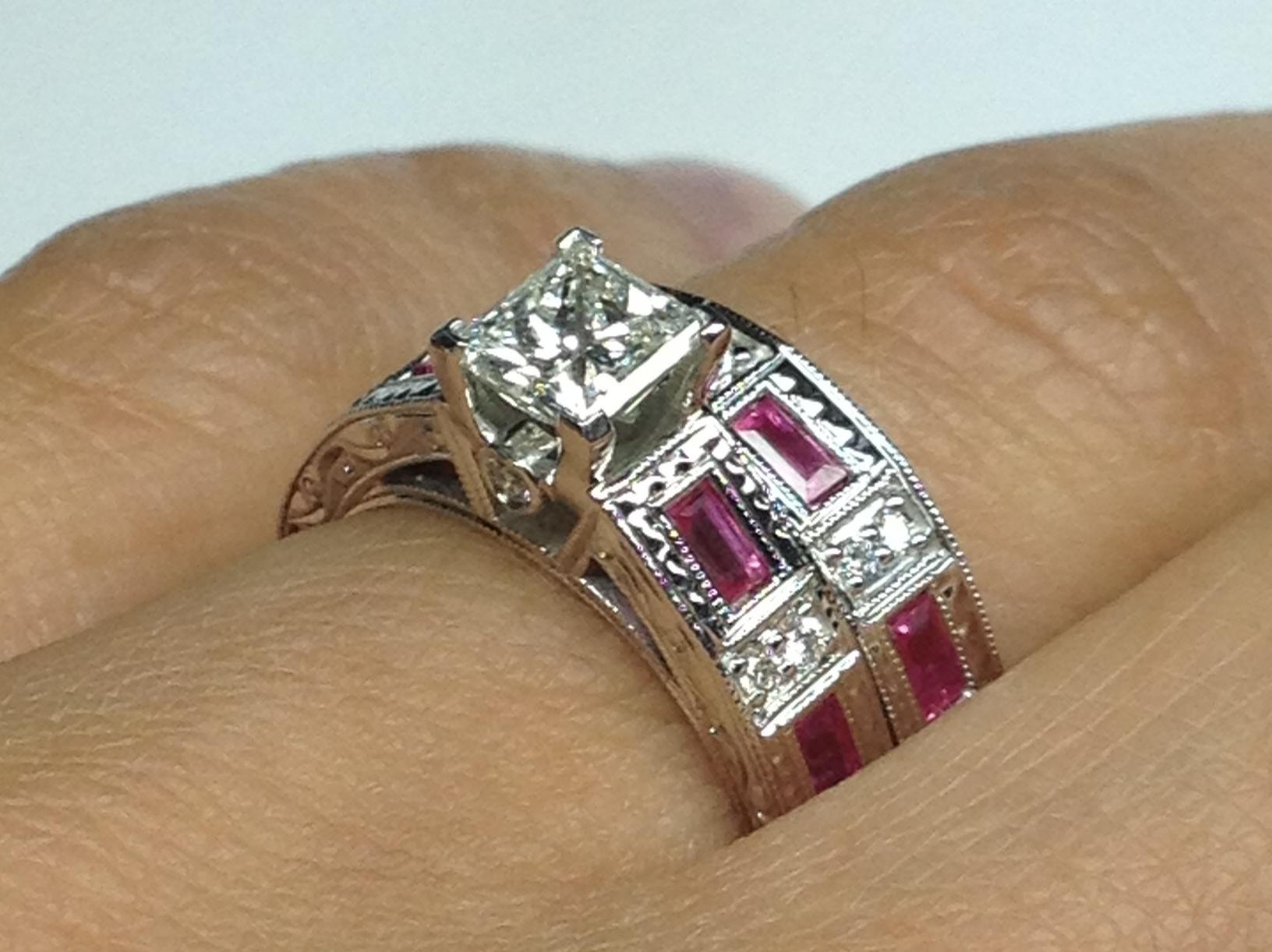 Engagement Ring Princess Diamond Vintage Engraved Bridal set