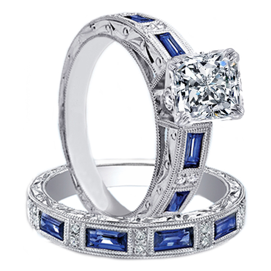 Engagement ring radiant diamond vintage engraved bridal for Wedding ring sets with sapphire accents