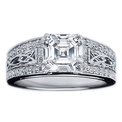 Asscher Diamond Celtic Knot Engagement Ring Pave Diamonds band in 14K White Gold