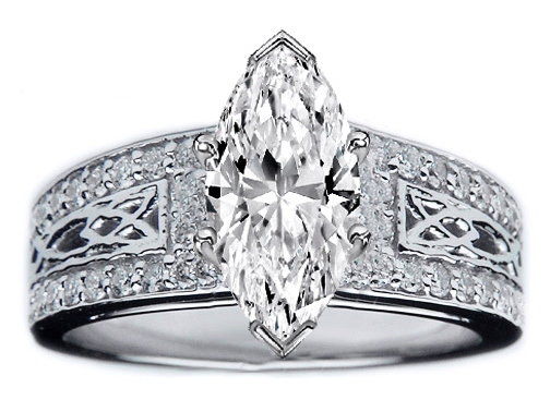 Marquise Diamond Celtic Knot Engagement Ring Pave Diamonds band 0.36 tcw. In 14K White Gold