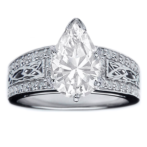 Pear Diamond Celtic Knot Engagement Ring Pave Diamonds band in 14K White Gold