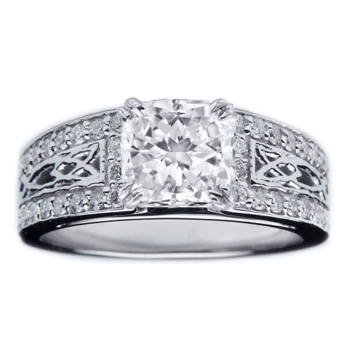 Radiant Diamond Celtic Knot Engagement Ring Pave Diamonds band in 14K White Gold