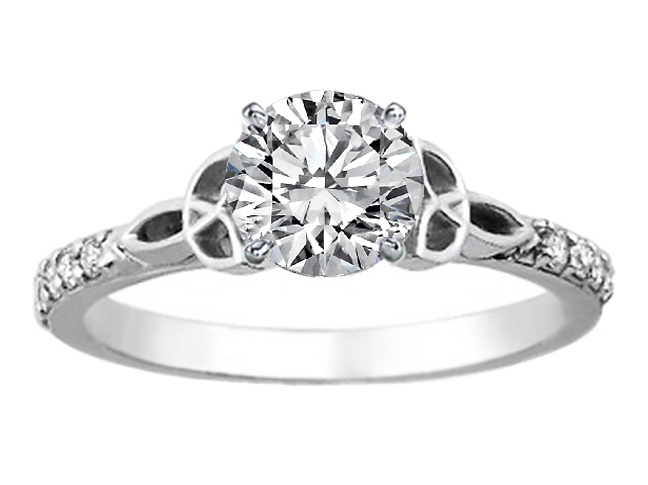 Celtic Knot Diamond Engagement Ring with Diamond Accents in 14K White Gold