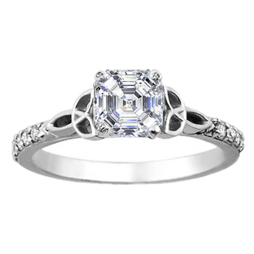 Asscher Diamond Celtic Knot Engagement Ring with Diamond Accents in 14K White Gold