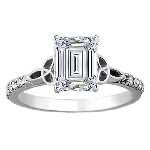 Engagement Ring Emerald Cut Diamond Celtic Knot Engagement Ring with Diamond