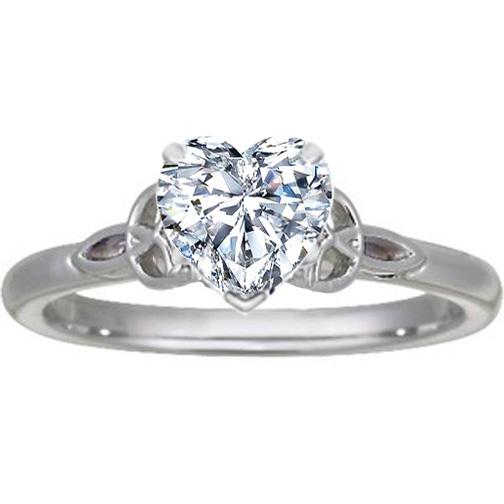 Engagement Ring Heart Diamond Celtic Knot Engagement Ring in 14K White Gold