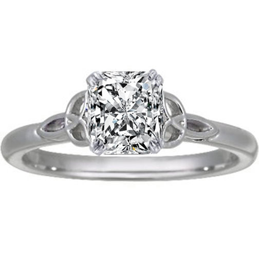 Radiant Diamond Celtic Knot Engagement Ring in 14K White Gold