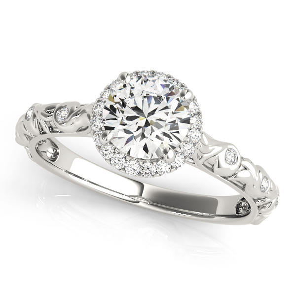 Halo Diamond Engagement Ring with Bezel Set Accents & Engraving