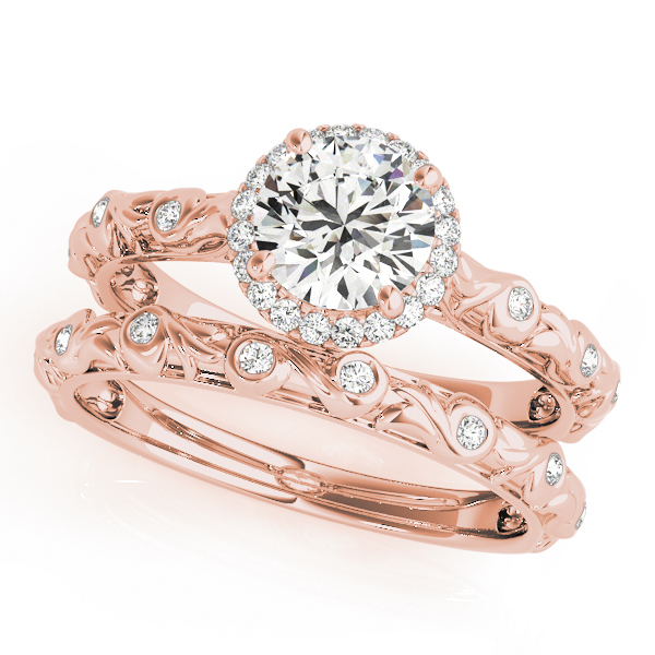 Halo Diamond Engagement Ring with Bezel Set Accents & Engraving in Rose Gold