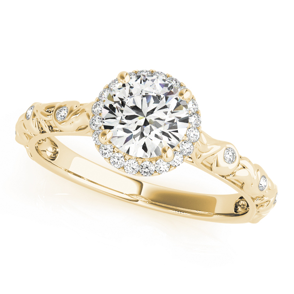Halo Diamond Engagement Ring with Bezel Set Accents & Engraving in Yellow Gold