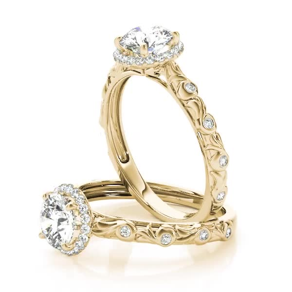 Halo Diamond Engagement Ring with Bezel Set Accents & Engraving Yellow Gold