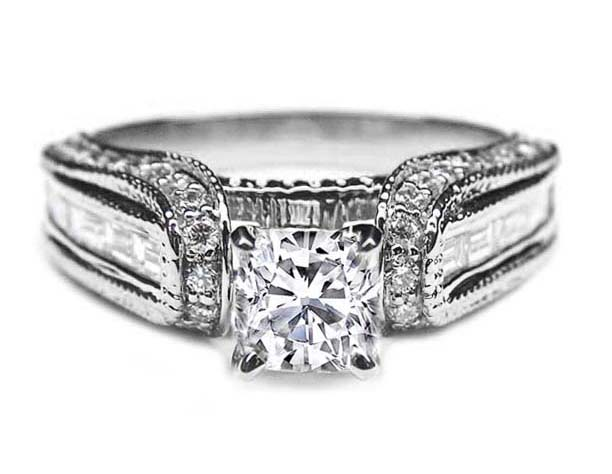 Cushion Diamond Vintage Horseshoe Engagement Ring Baguette Diamonds Milligrain Band 0 85 Tcw In 14k