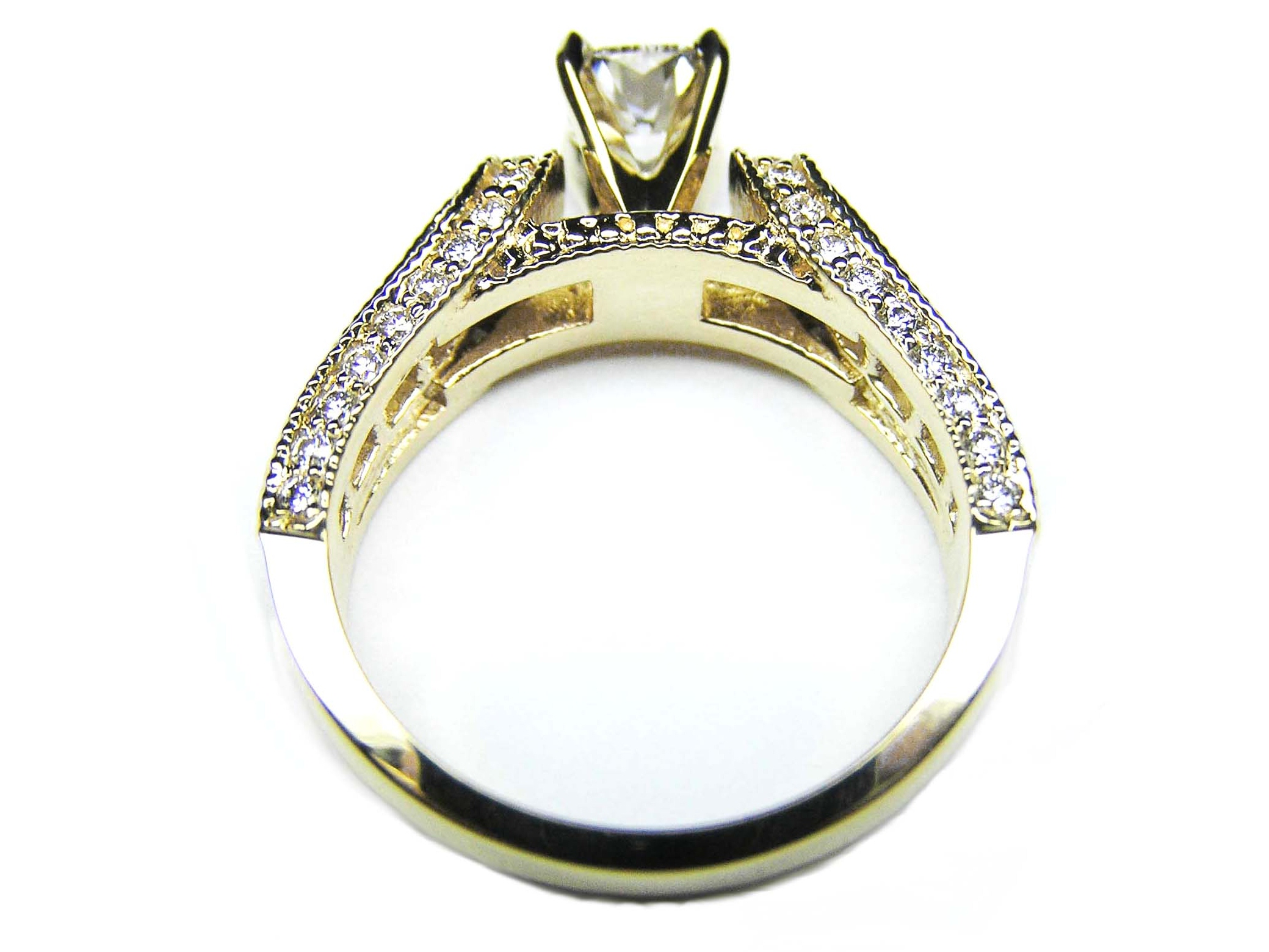 Cushion Diamond Vintage Horseshoe Engagement Ring Baguette Diamonds Milligrained band , 0.85 tcw. In 14K Yellow Gold