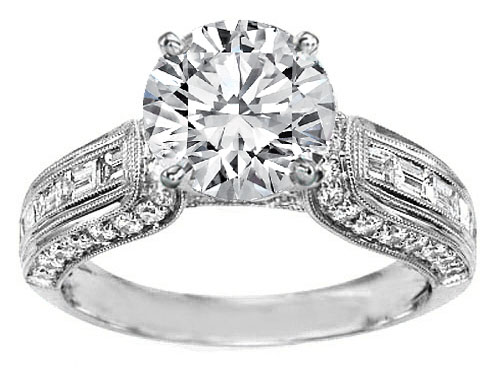 Round Diamond Vintage Horseshoe Engagement Ring Baguette Diamonds Milligrained band , 0.85 tcw. In 14K White Gold