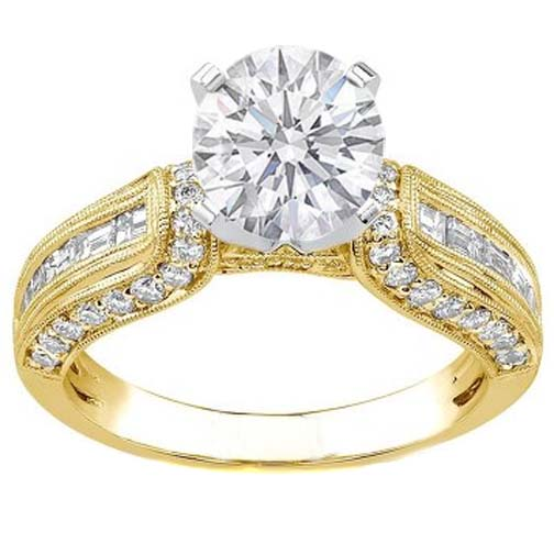 Round Diamond Vintage Horseshoe Engagement Ring Baguette Diamonds Milligrained band , 0.85 tcw. In 14K Yellow Gold