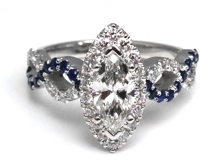 Marquise Diamond Halo Infinity Engagement Ring