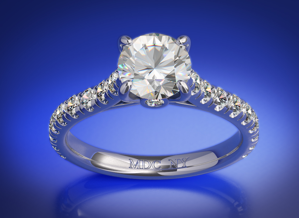 Cathedral Diamond Engagement Ring with a Surprise Diamond, 0.45 tcw. In 14K White Gold