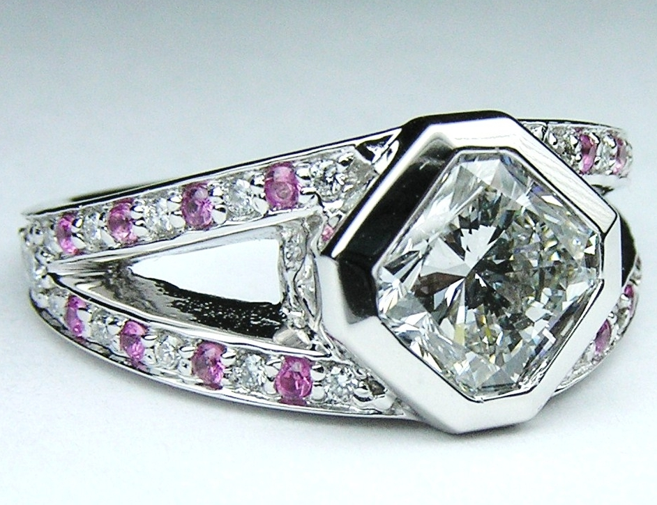 Radiant Diamond Diagonal Engagement Ring Split Band Pave Pink Sapphires in 14K White Gold