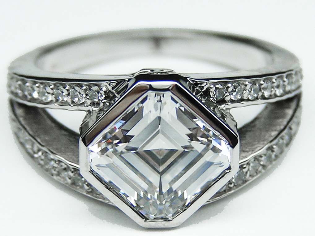 Asscher Diamond Diagonal Engagement Ring  Split Band Pave Diamond in 14K White Gold