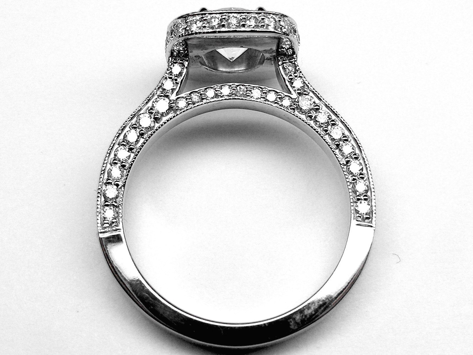 product bridal rings thin ring tall wedding cathedral band engagement diamond set