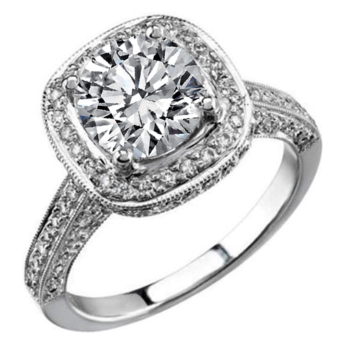 Double Diamond Halo Cathedral Vintage Engagement Ring in 14K White Gold