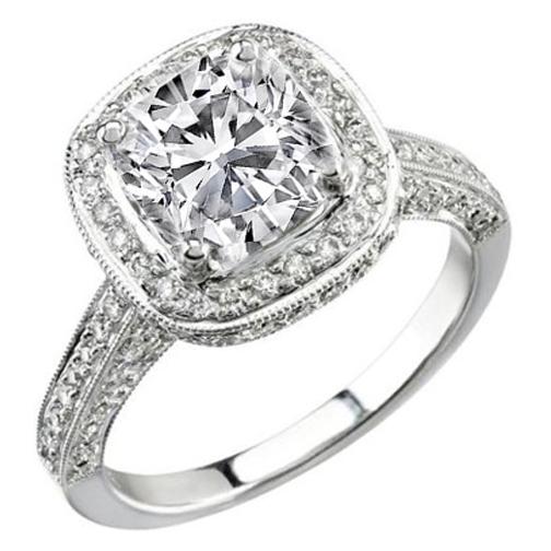 Antique Style Cushion Diamond Halo Engagement Ring 088 Tcw