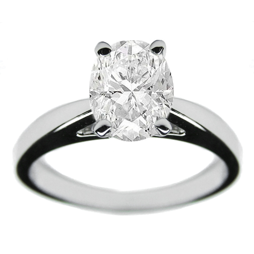 Oval Diamond Solitaire Oval Diamond Solitaire Tapered