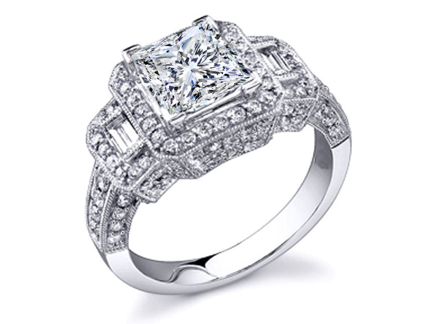 Vintage Style Three Stone Princess & Baguette Cut Diamond Engagement Ring