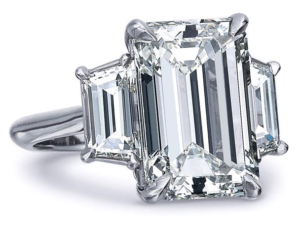 Engagement Ring Emerald Cut Diamond Trapezoids Engagement