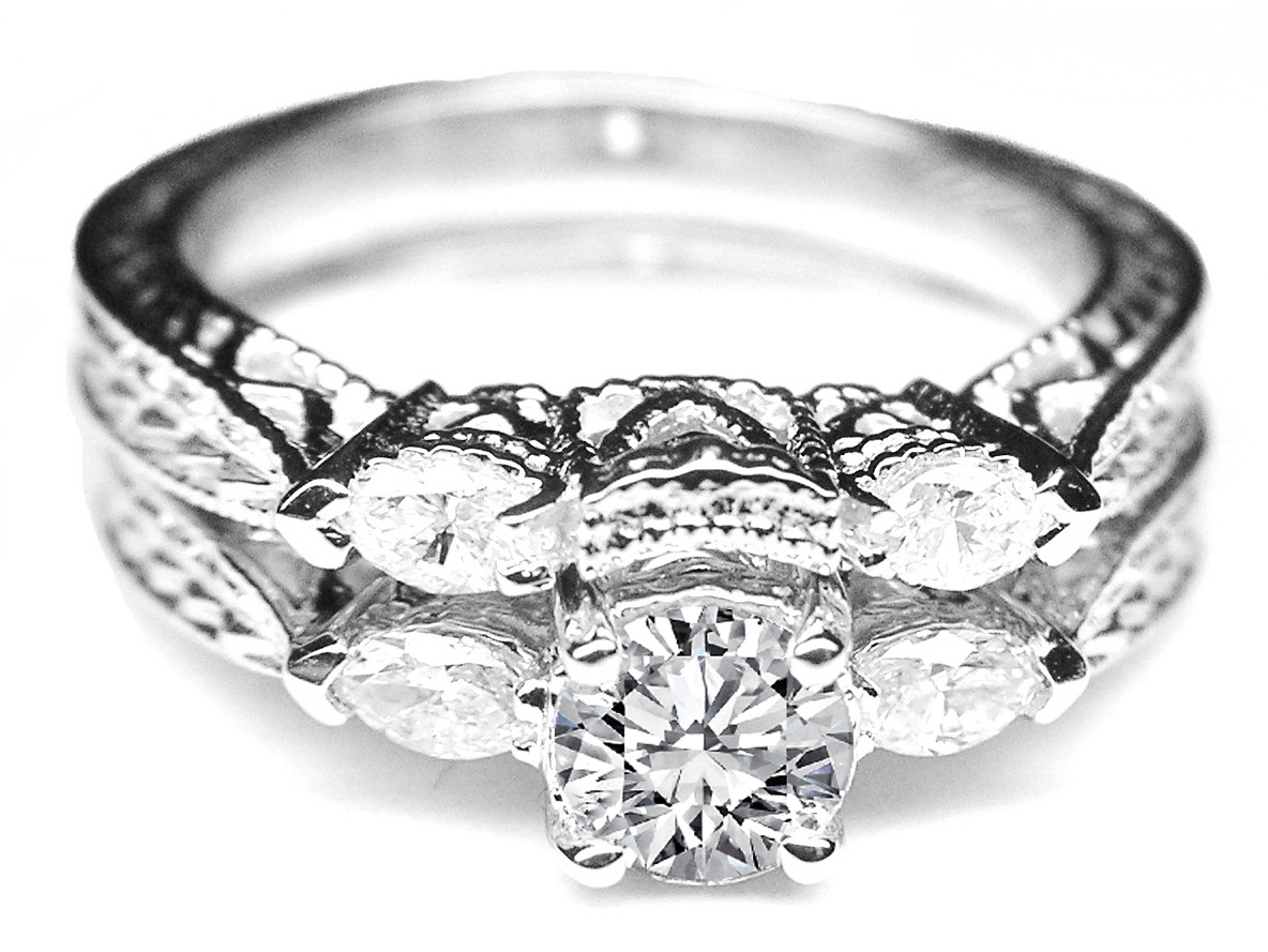 Engagement Ring Vintage Engraved Diamond Marquise Side Diamonds Wrap Wedding Band Es711bs