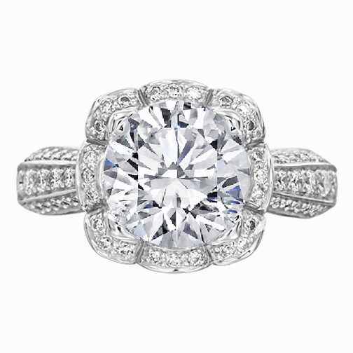 Floral Halo Edwardian Diamond Engagement Ring