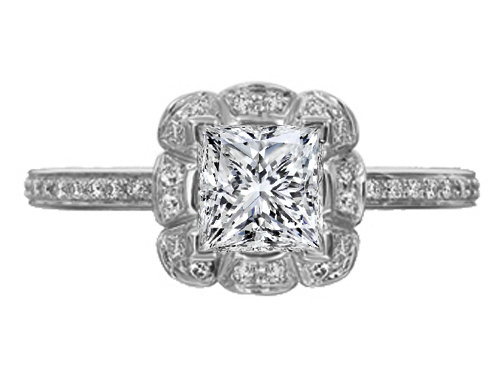 Princess Diamond Edwardian Floral Halo Engagement Ring in 14K White Gold