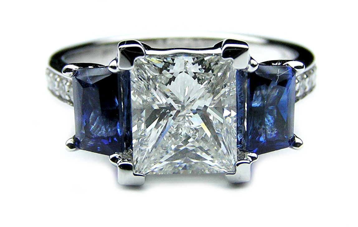 Princess Diamond Engagement Ring Trapezoids Blue Sapphire side stones