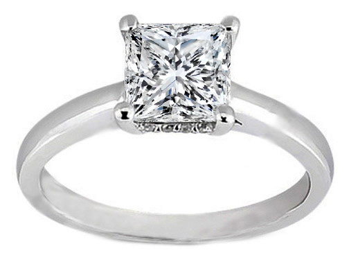 Princess Diamond Solitaire Engagement Ring in 14K White Gold