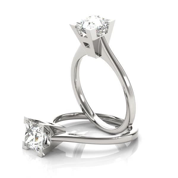 Princess Petite Classic Solitaire Engagement Ring in Platinum