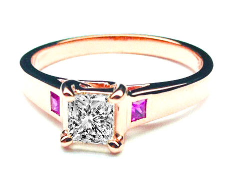 Princess Diamond Trellis Engagement Ring Pink Sapphire Rose Gold