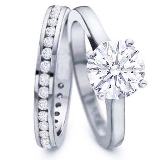 Engagement Ring Solitaire Diamond Engagement Ring Diamond Channel Set