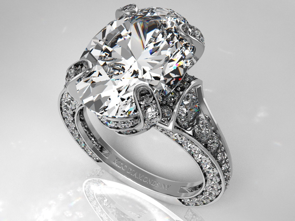 Engagement Ring Large Oval Diamond Cathedral Graduated Pave 1 25 Tcw In 14k White Gold Es745wg