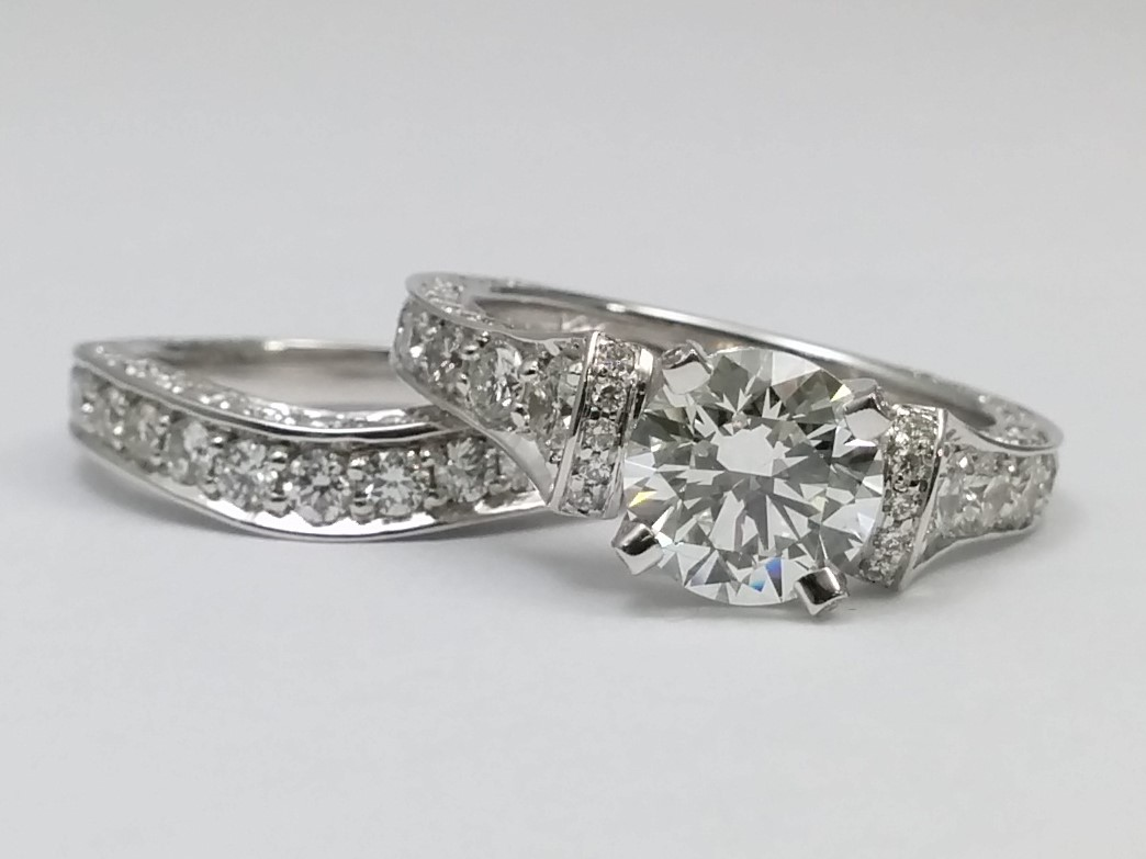 Large Cathedral Graduated Pave Diamond Engagement Ring in 14K White Gold with Matching  Wedding Band